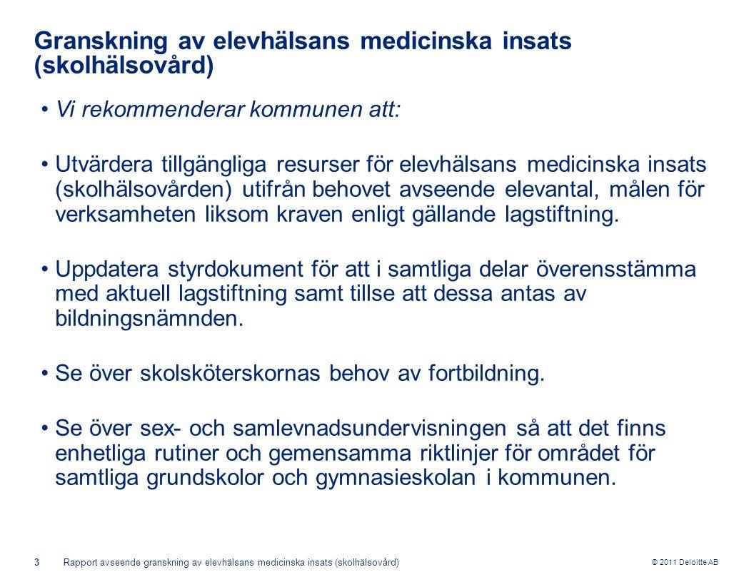 © 2011 Deloitte AB 3Rapport avseende granskning av elevhälsans medicinska insats (skolhälsovård) Granskning av elevhälsans medicinska insats (skolhälsovård) •Vi rekommenderar kommunen att: •Utvärdera tillgängliga resurser för elevhälsans medicinska insats (skolhälsovården) utifrån behovet avseende elevantal, målen för verksamheten liksom kraven enligt gällande lagstiftning.
