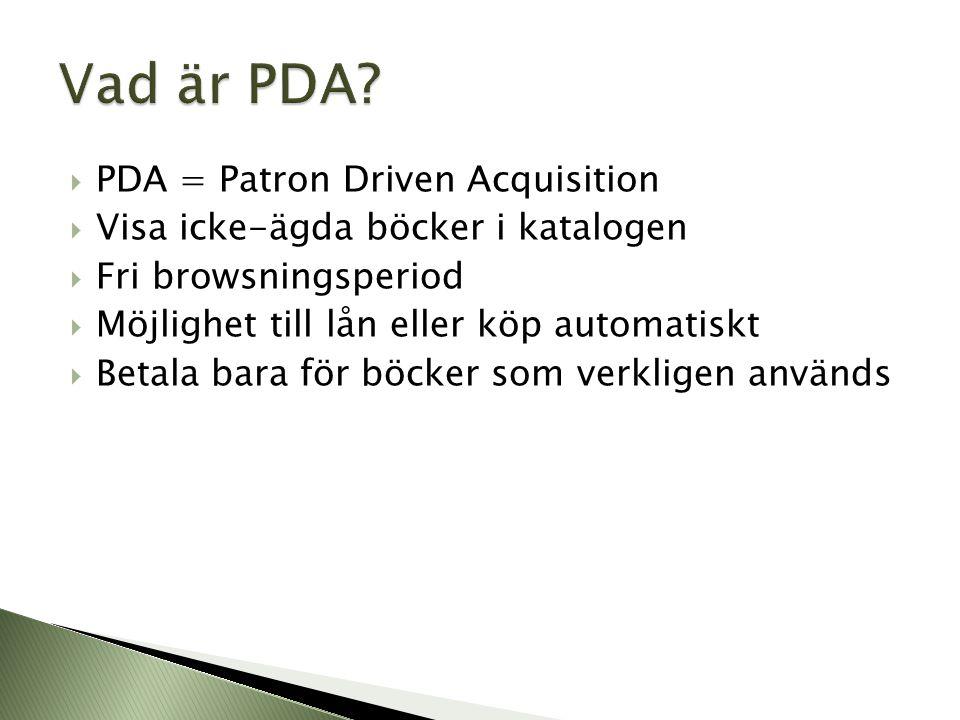  PDA = Patron Driven Acquisition  Visa icke-ägda böcker i katalogen  Fri browsningsperiod  Möjlighet till lån eller köp automatiskt  Betala bara