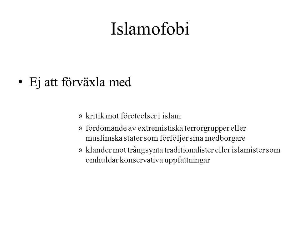 Islamofobi • Ej att förväxla med » kritik mot företeelser i islam » fördömande av extremistiska terrorgrupper eller muslimska stater som förföljer sin