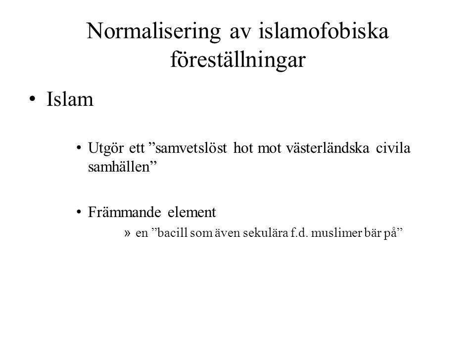 """Normalisering av islamofobiska föreställningar • Islam • Utgör ett """"samvetslöst hot mot västerländska civila samhällen"""" • Främmande element » en """"baci"""