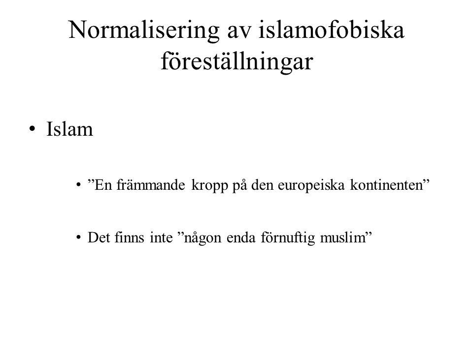 """Normalisering av islamofobiska föreställningar • Islam • """"En främmande kropp på den europeiska kontinenten"""" • Det finns inte """"någon enda förnuftig mus"""