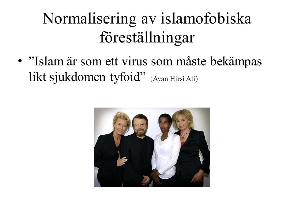 """Normalisering av islamofobiska föreställningar • """"Islam är som ett virus som måste bekämpas likt sjukdomen tyfoid"""" (Ayan Hirsi Ali)"""