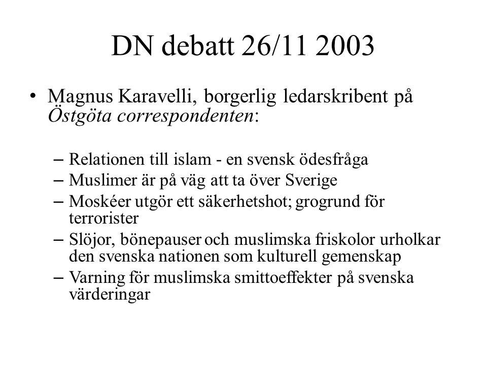 DN debatt 26/11 2003 • Magnus Karavelli, borgerlig ledarskribent på Östgöta correspondenten: – Relationen till islam - en svensk ödesfråga – Muslimer