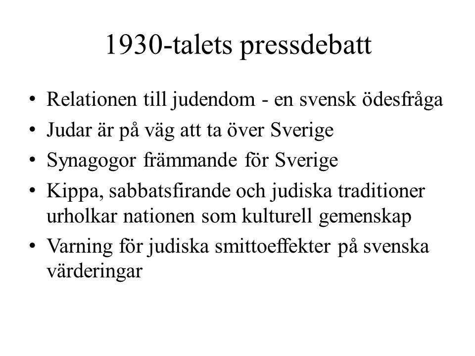 1930-talets pressdebatt • Relationen till judendom - en svensk ödesfråga • Judar är på väg att ta över Sverige • Synagogor främmande för Sverige • Kip