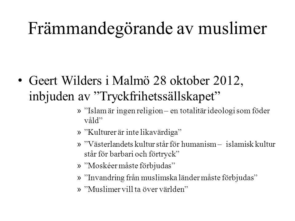 """Främmandegörande av muslimer • Geert Wilders i Malmö 28 oktober 2012, inbjuden av """"Tryckfrihetssällskapet"""" » """"Islam är ingen religion – en totalitär i"""