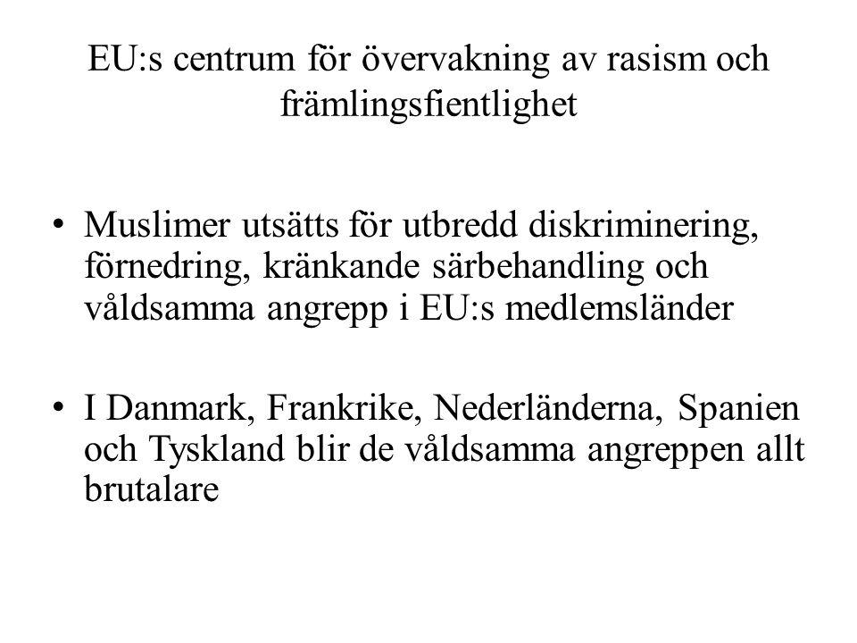 EU:s centrum för övervakning av rasism och främlingsfientlighet • Muslimer utsätts för utbredd diskriminering, förnedring, kränkande särbehandling och
