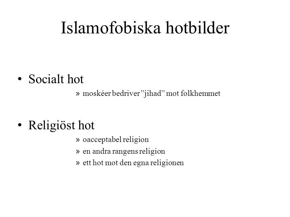 """Islamofobiska hotbilder • Socialt hot » moskéer bedriver """"jihad"""" mot folkhemmet • Religiöst hot » oacceptabel religion » en andra rangens religion » e"""