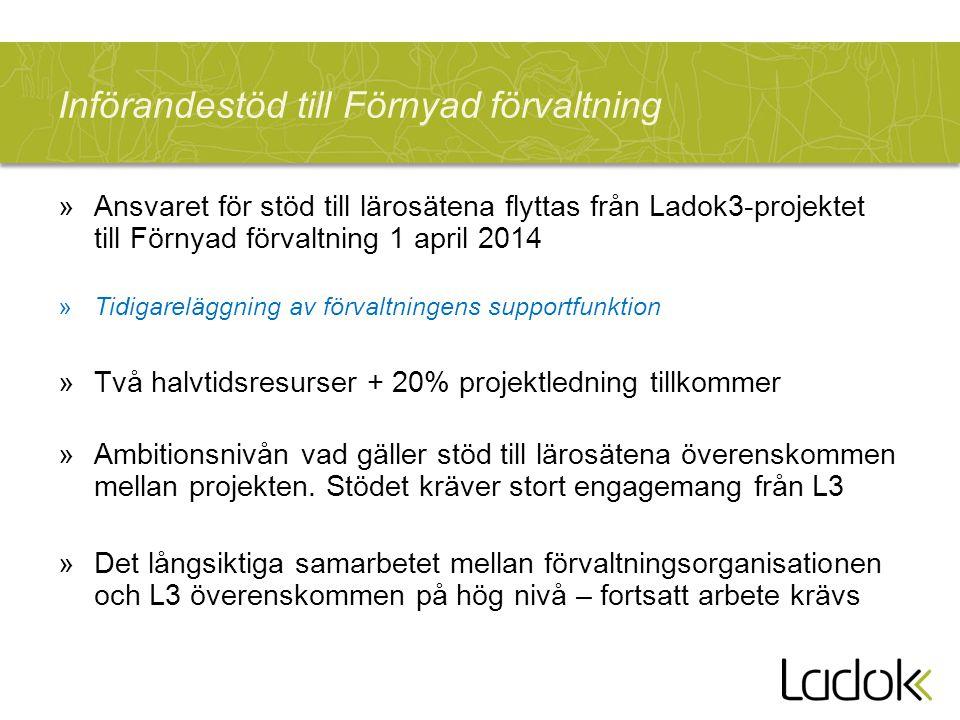 Införandestöd till Förnyad förvaltning »Ansvaret för stöd till lärosätena flyttas från Ladok3-projektet till Förnyad förvaltning 1 april 2014 »Tidigar