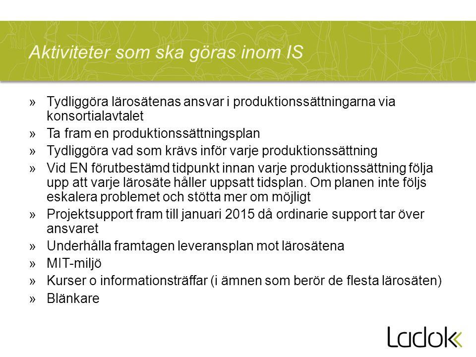 Aktiviteter som ska göras inom IS »Tydliggöra lärosätenas ansvar i produktionssättningarna via konsortialavtalet »Ta fram en produktionssättningsplan