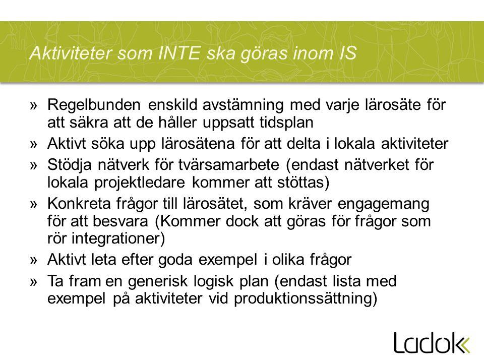 Aktiviteter som INTE ska göras inom IS »Regelbunden enskild avstämning med varje lärosäte för att säkra att de håller uppsatt tidsplan »Aktivt söka up