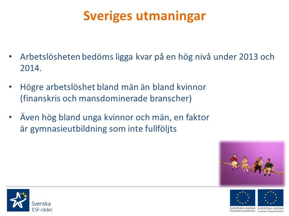 Sveriges utmaningar • Arbetslösheten bedöms ligga kvar på en hög nivå under 2013 och 2014.