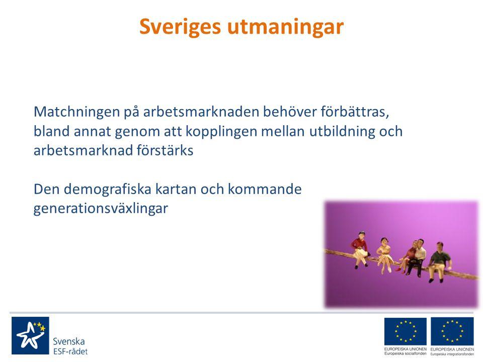 Sveriges utmaningar Matchningen på arbetsmarknaden behöver förbättras, bland annat genom att kopplingen mellan utbildning och arbetsmarknad förstärks Den demografiska kartan och kommande generationsväxlingar