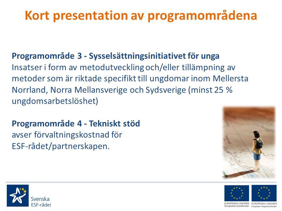 Kort presentation av programområdena Programområde 3 - Sysselsättningsinitiativet för unga Insatser i form av metodutveckling och/eller tillämpning av metoder som är riktade specifikt till ungdomar inom Mellersta Norrland, Norra Mellansverige och Sydsverige (minst 25 % ungdomsarbetslöshet) Programområde 4 - Tekniskt stöd avser förvaltningskostnad för ESF-rådet/partnerskapen.