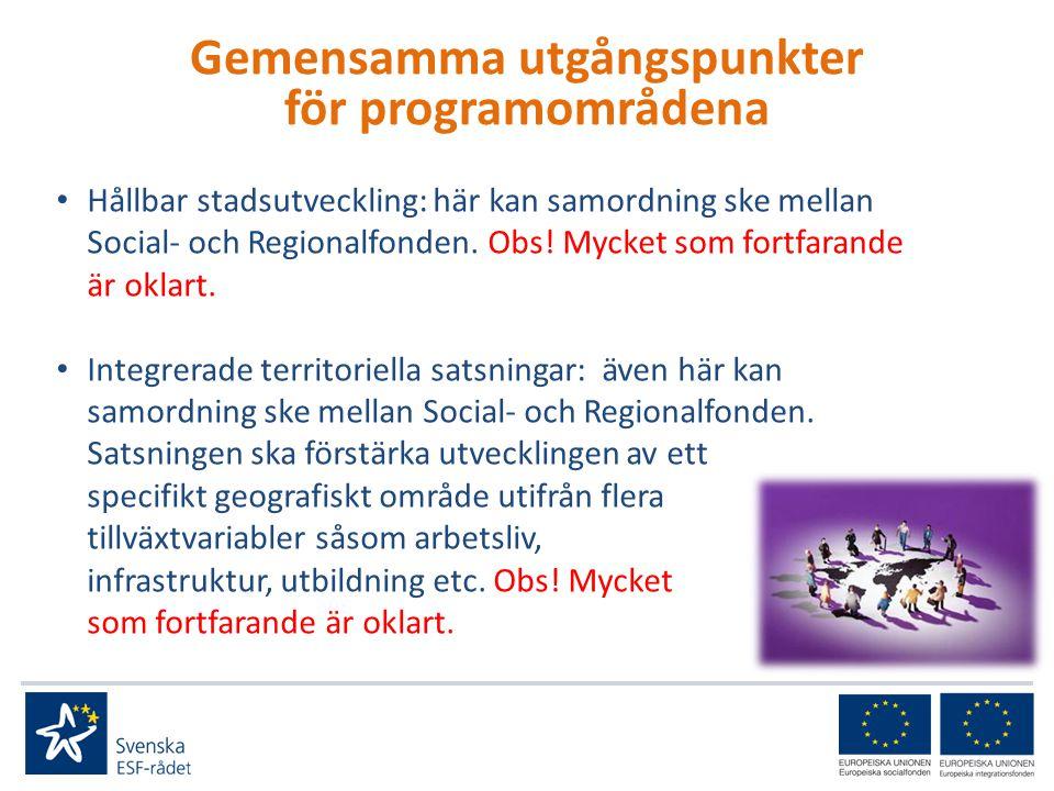 • Hållbar stadsutveckling: här kan samordning ske mellan Social- och Regionalfonden.