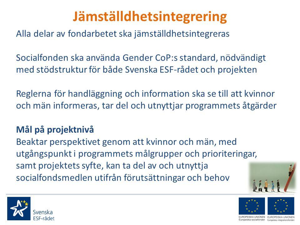 Jämställdhetsintegrering Alla delar av fondarbetet ska jämställdhetsintegreras Socialfonden ska använda Gender CoP:s standard, nödvändigt med stödstruktur för både Svenska ESF-rådet och projekten Reglerna för handläggning och information ska se till att kvinnor och män informeras, tar del och utnyttjar programmets åtgärder Mål på projektnivå Beaktar perspektivet genom att kvinnor och män, med utgångspunkt i programmets målgrupper och prioriteringar, samt projektets syfte, kan ta del av och utnyttja socialfondsmedlen utifrån förutsättningar och behov