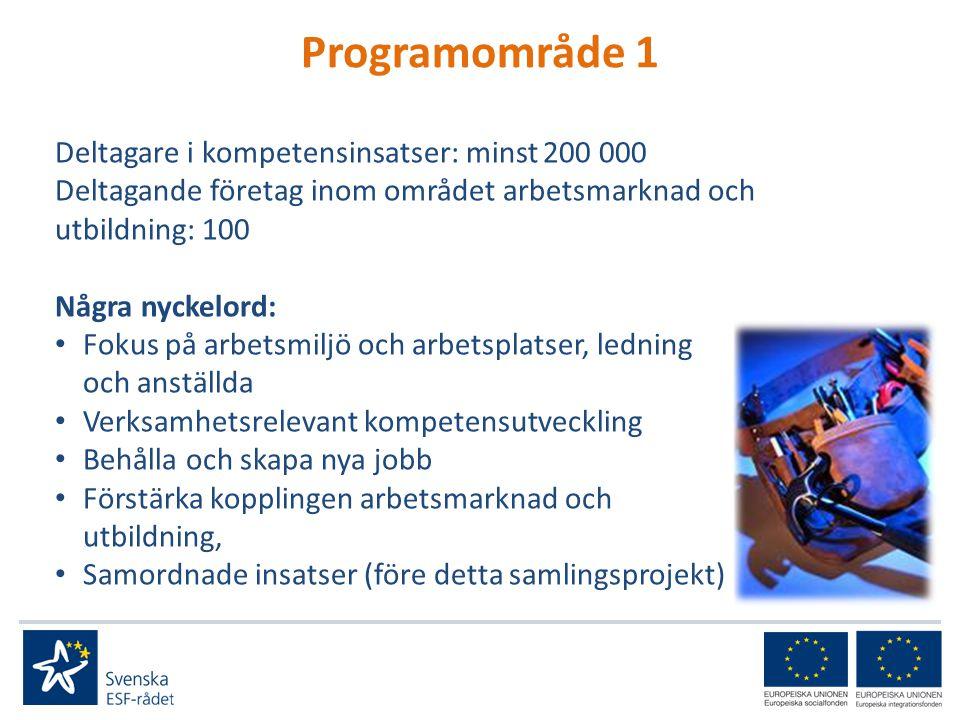 Programområde 1 Deltagare i kompetensinsatser: minst 200 000 Deltagande företag inom området arbetsmarknad och utbildning: 100 Några nyckelord: • Fokus på arbetsmiljö och arbetsplatser, ledning och anställda • Verksamhetsrelevant kompetensutveckling • Behålla och skapa nya jobb • Förstärka kopplingen arbetsmarknad och utbildning, • Samordnade insatser (före detta samlingsprojekt)