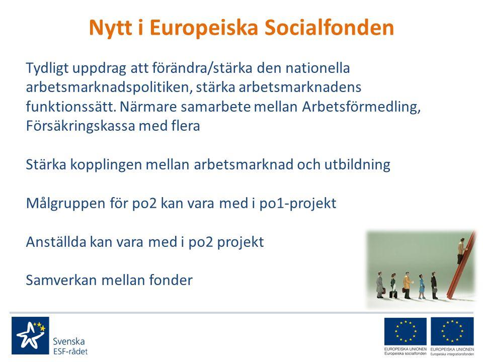 Nytt i Europeiska Socialfonden Tydligt uppdrag att förändra/stärka den nationella arbetsmarknadspolitiken, stärka arbetsmarknadens funktionssätt.