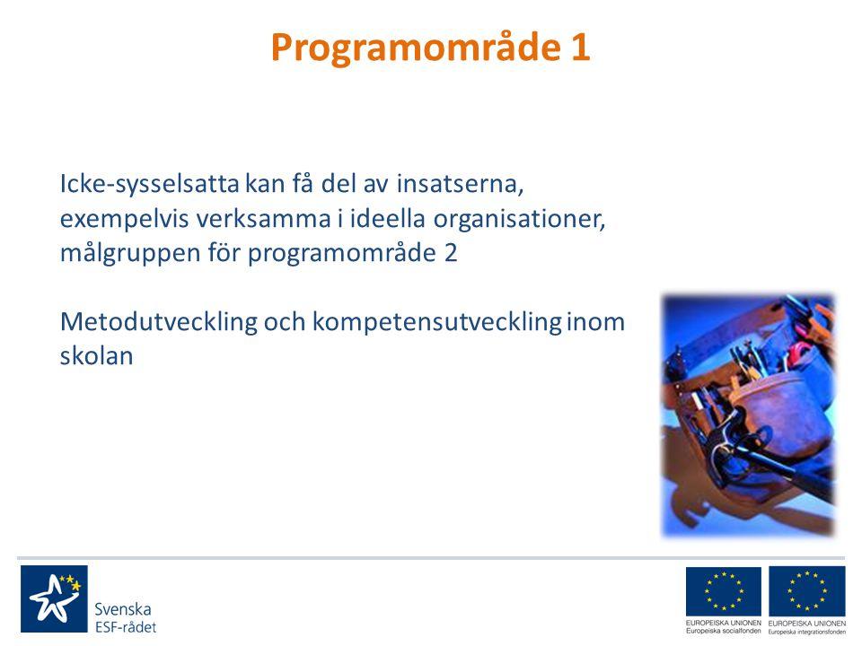 Programområde 1 Icke-sysselsatta kan få del av insatserna, exempelvis verksamma i ideella organisationer, målgruppen för programområde 2 Metodutveckling och kompetensutveckling inom skolan