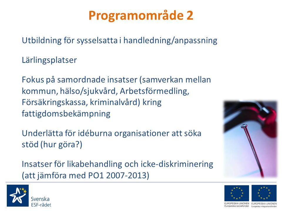 Programområde 2 Utbildning för sysselsatta i handledning/anpassning Lärlingsplatser Fokus på samordnade insatser (samverkan mellan kommun, hälso/sjukvård, Arbetsförmedling, Försäkringskassa, kriminalvård) kring fattigdomsbekämpning Underlätta för idéburna organisationer att söka stöd (hur göra ) Insatser för likabehandling och icke-diskriminering (att jämföra med PO1 2007-2013)