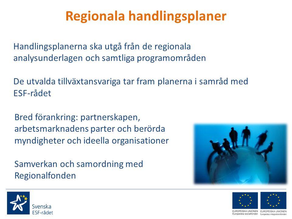 Regionala handlingsplaner Handlingsplanerna ska utgå från de regionala analysunderlagen och samtliga programområden De utvalda tillväxtansvariga tar fram planerna i samråd med ESF-rådet Bred förankring: partnerskapen, arbetsmarknadens parter och berörda myndigheter och ideella organisationer Samverkan och samordning med Regionalfonden