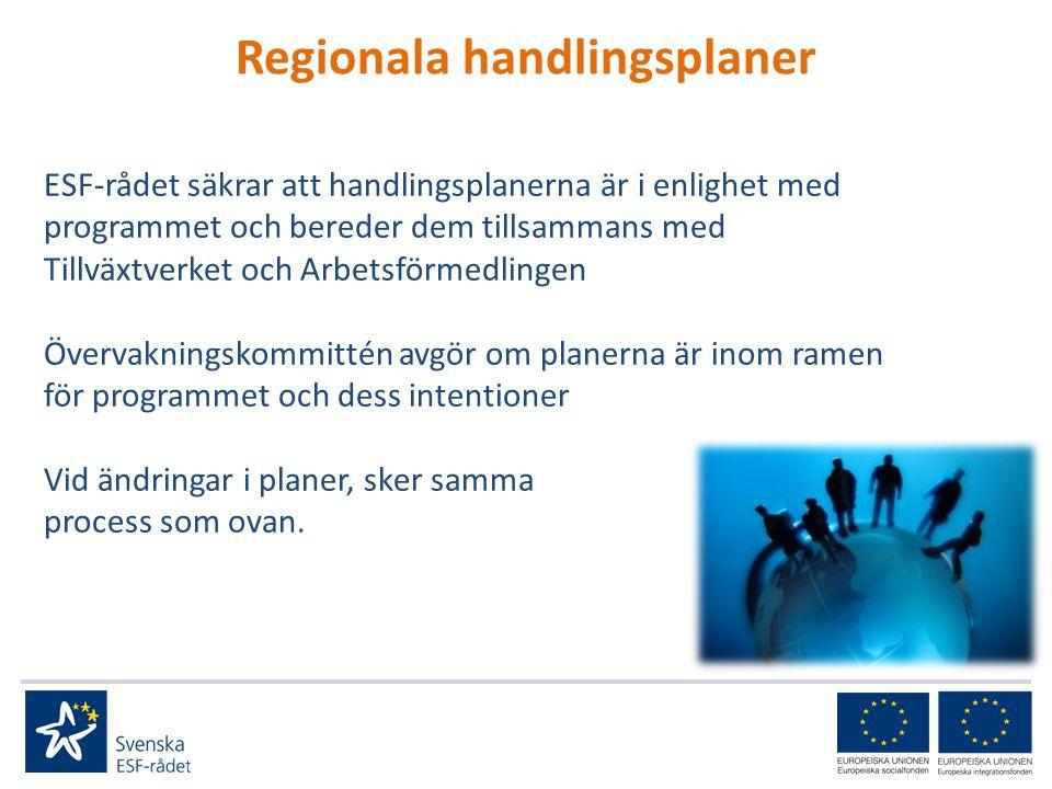 Regionala handlingsplaner ESF-rådet säkrar att handlingsplanerna är i enlighet med programmet och bereder dem tillsammans med Tillväxtverket och Arbetsförmedlingen Övervakningskommittén avgör om planerna är inom ramen för programmet och dess intentioner Vid ändringar i planer, sker samma process som ovan.