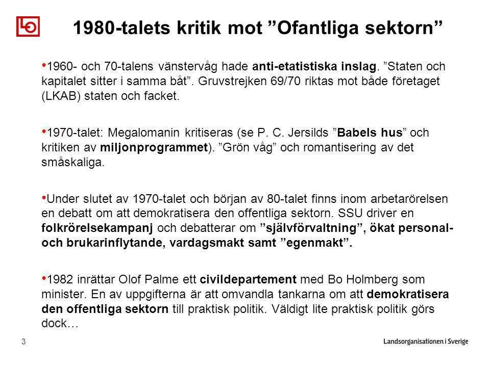 """1980-talets kritik mot """"Ofantliga sektorn"""" • 1960- och 70-talens vänstervåg hade anti-etatistiska inslag. """"Staten och kapitalet sitter i samma båt"""". G"""
