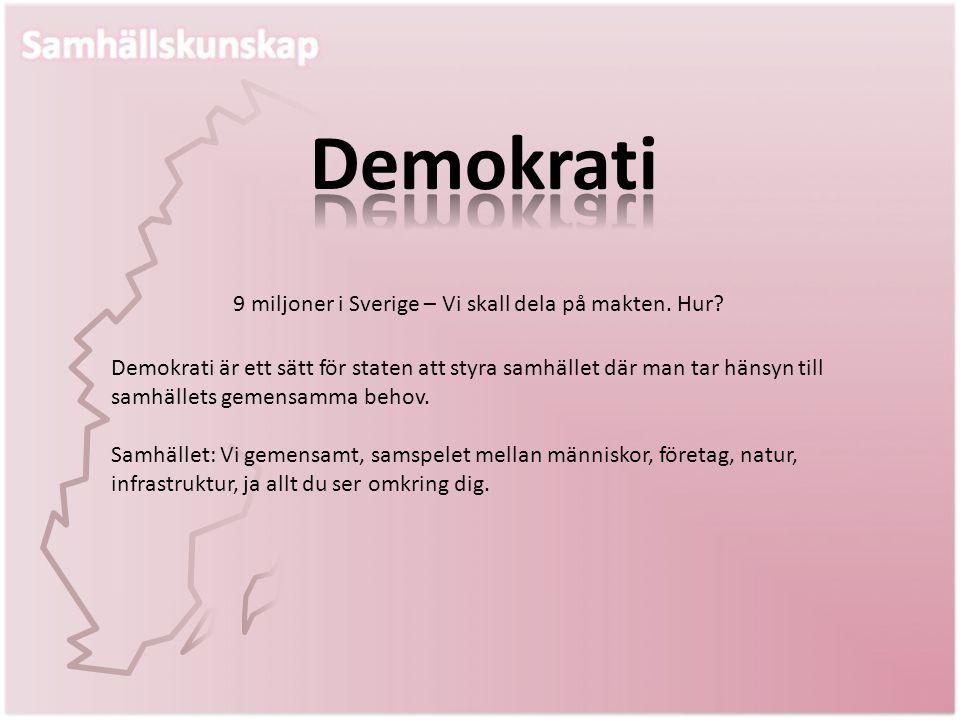 Demokrati är ett sätt för staten att styra samhället där man tar hänsyn till samhällets gemensamma behov. Samhället: Vi gemensamt, samspelet mellan mä
