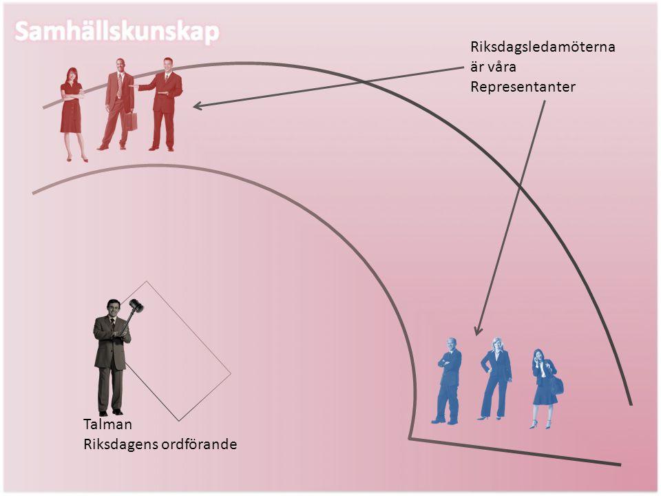 Talman Riksdagens ordförande Riksdagsledamöterna är våra Representanter