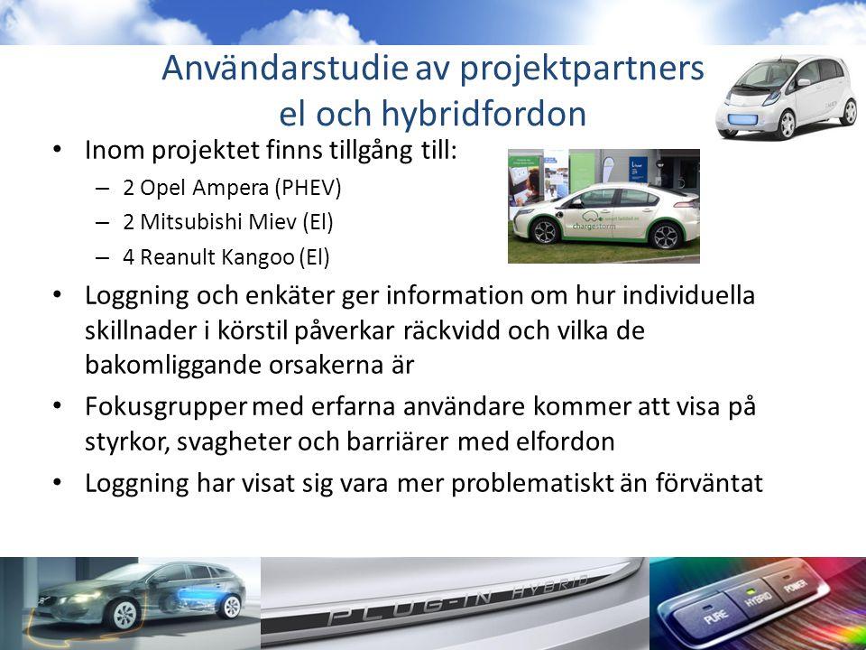 Användarstudie av projektpartners el och hybridfordon • Inom projektet finns tillgång till: – 2 Opel Ampera (PHEV) – 2 Mitsubishi Miev (El) – 4 Reanult Kangoo (El) • Loggning och enkäter ger information om hur individuella skillnader i körstil påverkar räckvidd och vilka de bakomliggande orsakerna är • Fokusgrupper med erfarna användare kommer att visa på styrkor, svagheter och barriärer med elfordon • Loggning har visat sig vara mer problematiskt än förväntat