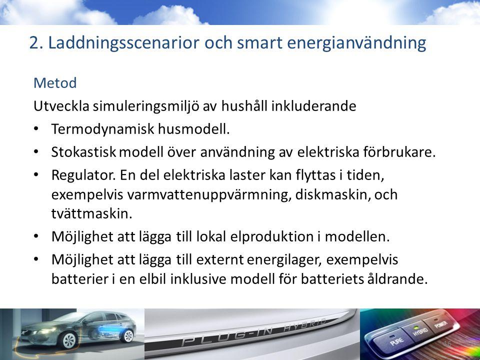 2. Laddningsscenarior och smart energianvändning Metod Utveckla simuleringsmiljö av hushåll inkluderande • Termodynamisk husmodell. • Stokastisk model