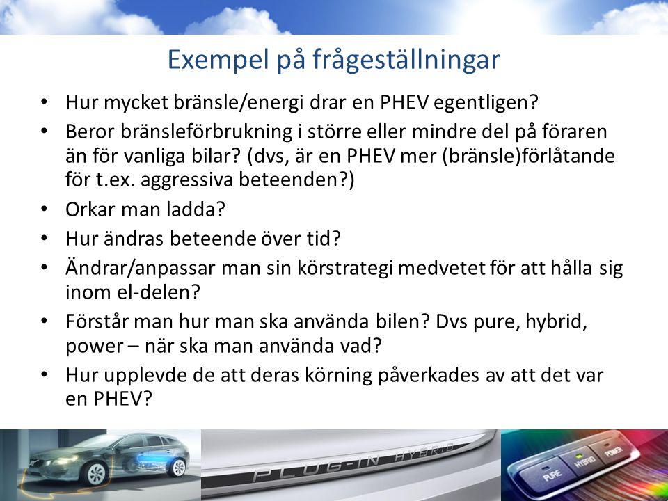 Exempel på frågeställningar • Hur mycket bränsle/energi drar en PHEV egentligen? • Beror bränsleförbrukning i större eller mindre del på föraren än fö