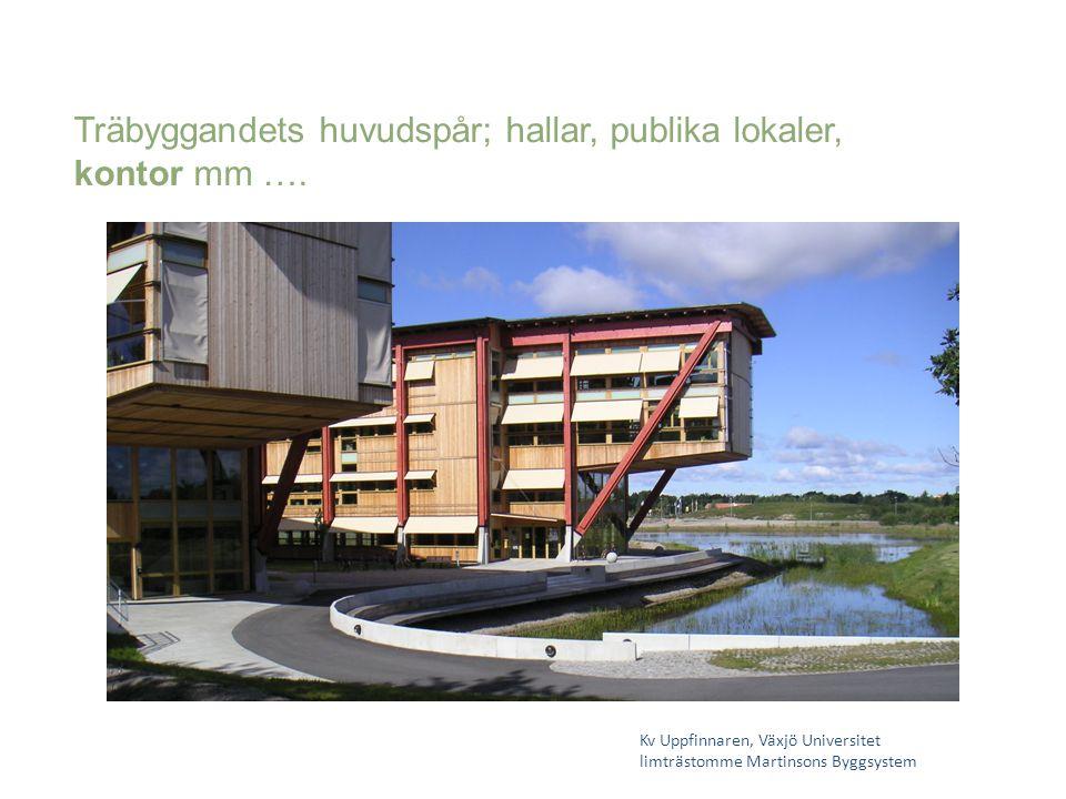 Kv Uppfinnaren, Växjö Universitet limträstomme Martinsons Byggsystem Träbyggandets huvudspår; hallar, publika lokaler, kontor mm ….
