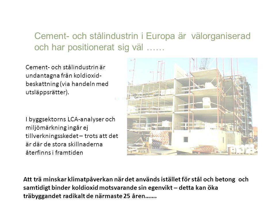 Cement- och stålindustrin i Europa är välorganiserad och har positionerat sig väl …… Cement- och stålindustrin är undantagna från koldioxid- beskattni