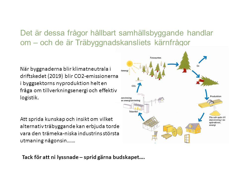 Det är dessa frågor hållbart samhällsbyggande handlar om – och de är Träbyggnadskansliets kärnfrågor Tack för att ni lyssnade – sprid gärna budskapet…