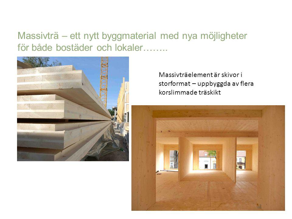 Massivträelement är skivor i storformat – uppbyggda av flera korslimmade träskikt Massivträ – ett nytt byggmaterial med nya möjligheter för både bostä
