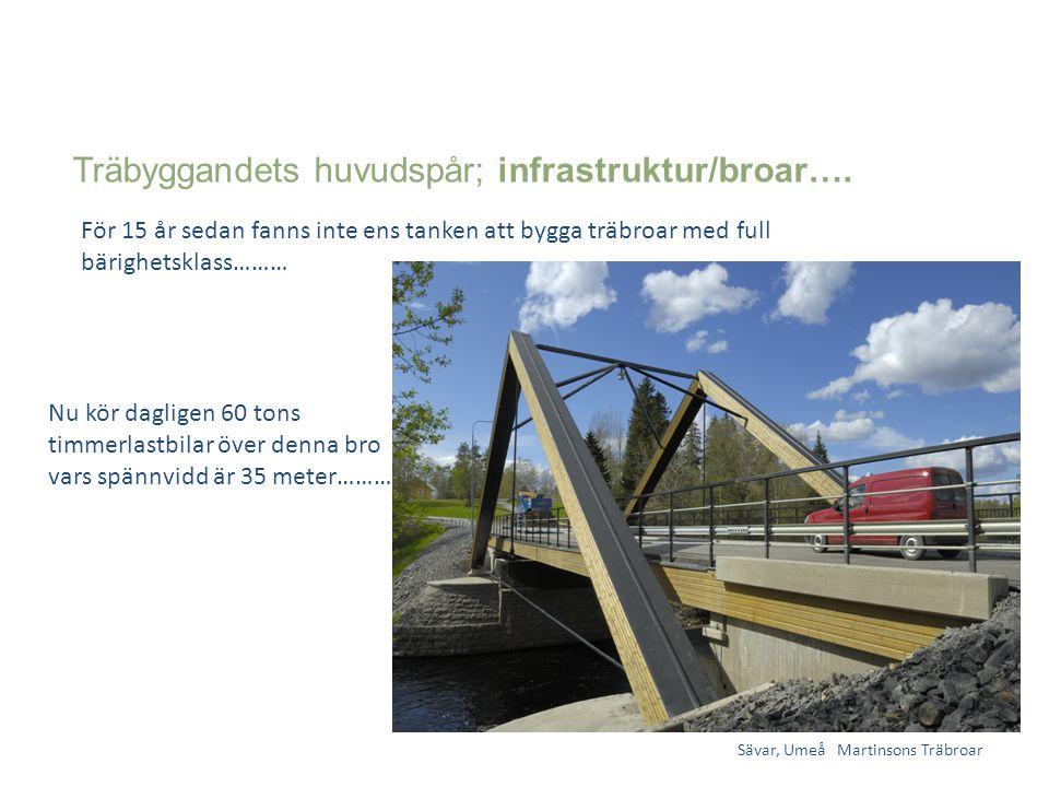 Träbyggandets huvudspår; infrastruktur/broar…. Sävar, Umeå Martinsons Träbroar För 15 år sedan fanns inte ens tanken att bygga träbroar med full bärig