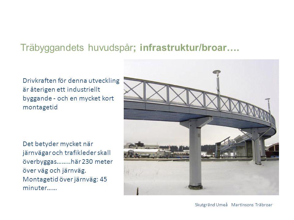 Träbyggandets huvudspår; infrastruktur/broar…. Skutgränd Umeå Martinsons Träbroar Drivkraften för denna utveckling är återigen ett industriellt byggan