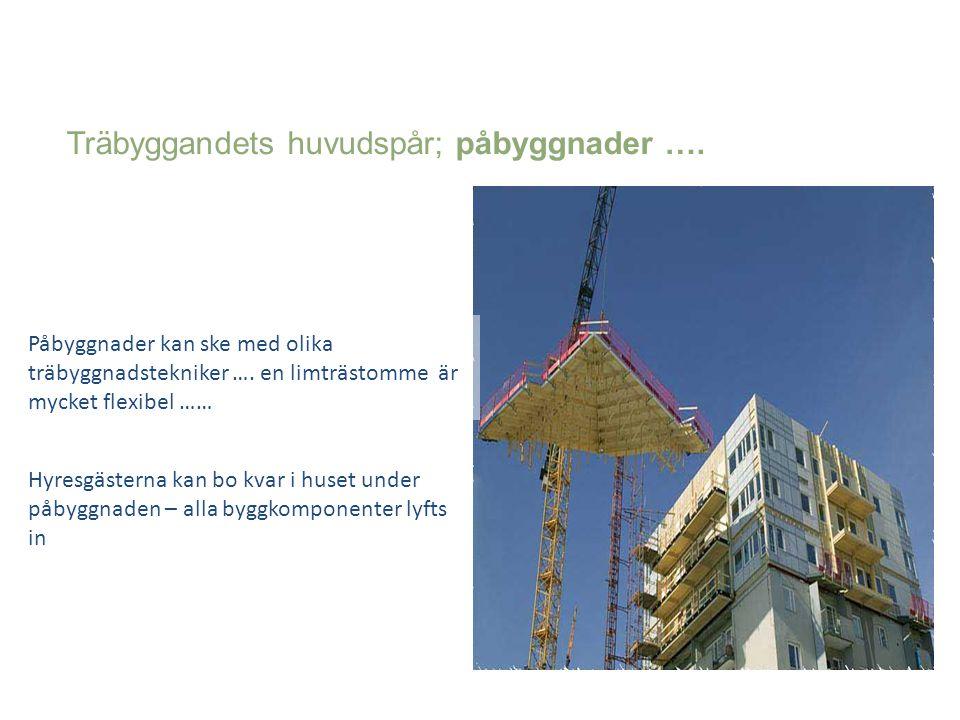 Träbyggandets huvudspår; påbyggnader …. Påbyggnader kan ske med olika träbyggnadstekniker …. en limträstomme är mycket flexibel …… Hyresgästerna kan b
