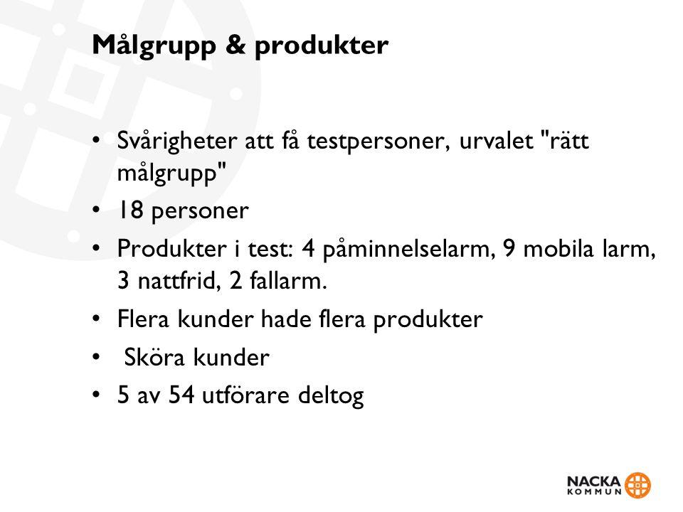 Målgrupp & produkter • Svårigheter att få testpersoner, urvalet