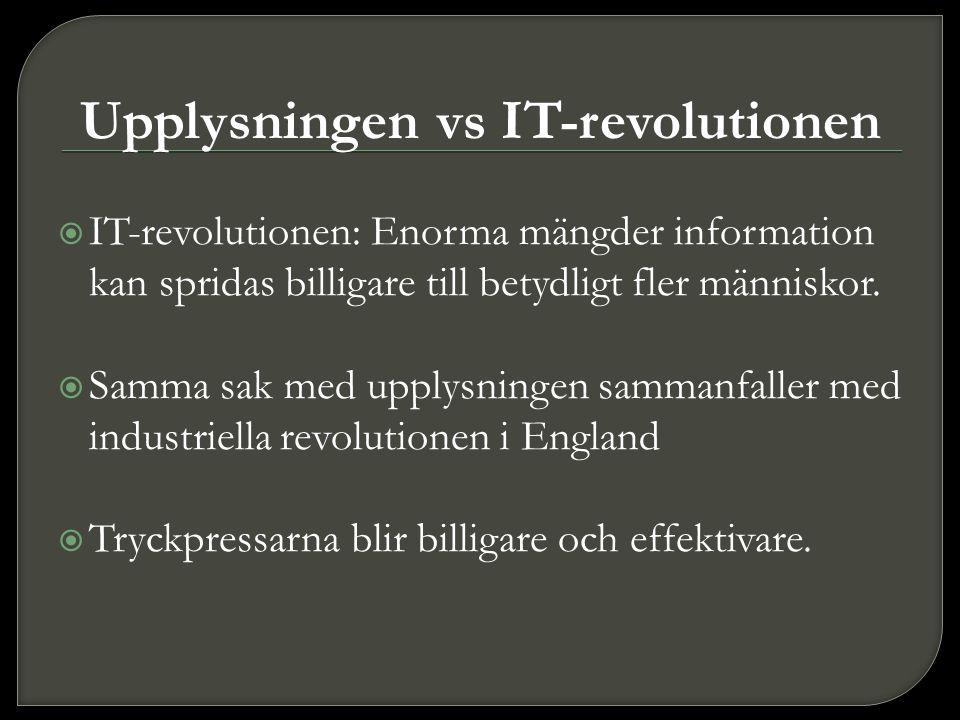 Upplysningen vs IT-revolutionen  IT-revolutionen: Enorma mängder information kan spridas billigare till betydligt fler människor.  Samma sak med upp