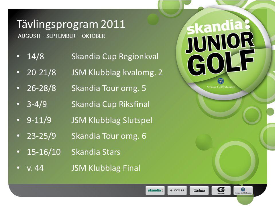Tävlingsprogram 2011 AUGUSTI – SEPTEMBER – OKTOBER • 14/8Skandia Cup Regionkval • 20-21/8JSM Klubblag kvalomg.