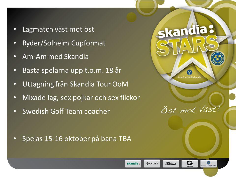 • Lagmatch väst mot öst • Ryder/Solheim Cupformat • Am-Am med Skandia • Bästa spelarna upp t.o.m.
