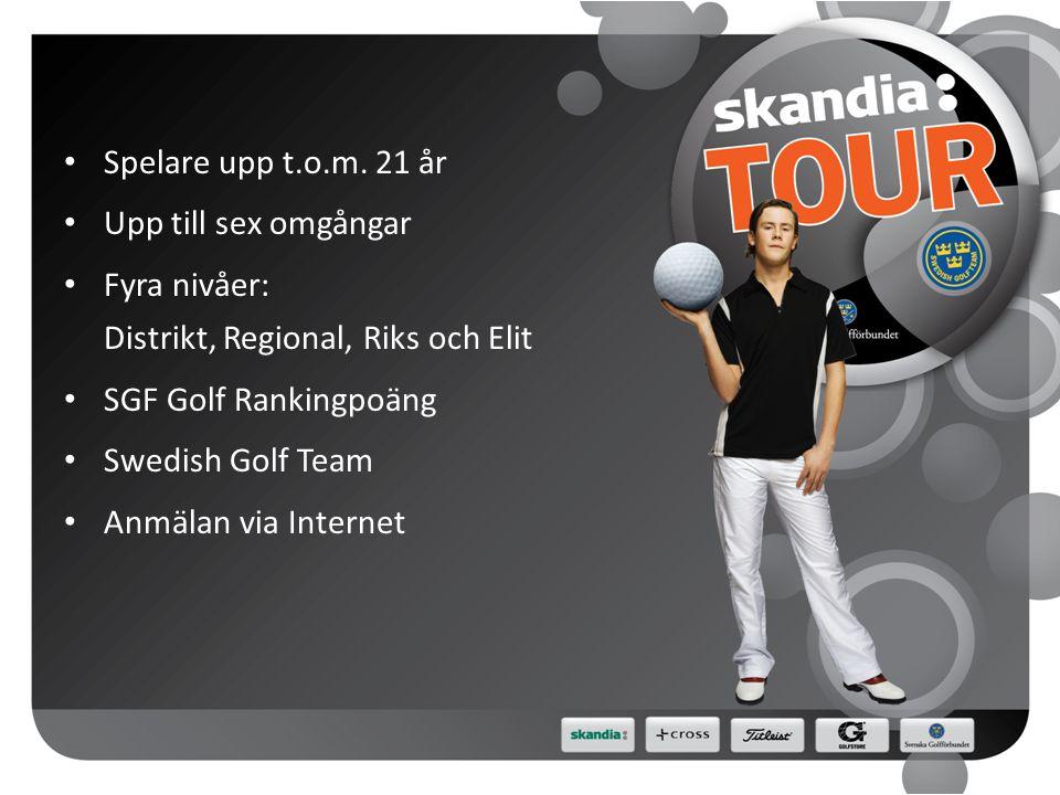 NYHETER 2011 • Touravgift 350 kr • Anmälan görs via Min Golf • Sex tävlingsomgångar • 1 Elit, 3 Riks och 8 Regional • 78 spelare per tävling (54 pojk, 24 flick) • 27 hål för flickor på Regional • JSM Slag spelas över 36+18+18 hål • Skandia Grand Opening • Skandia Tour Distrikt