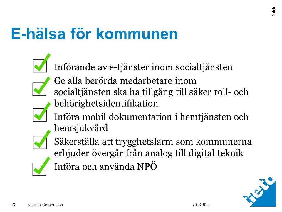 © Tieto Corporation Public E-hälsa för kommunen 13 2013-10-05  Införande av e-tjänster inom socialtjänsten  Ge alla berörda medarbetare inom socialt