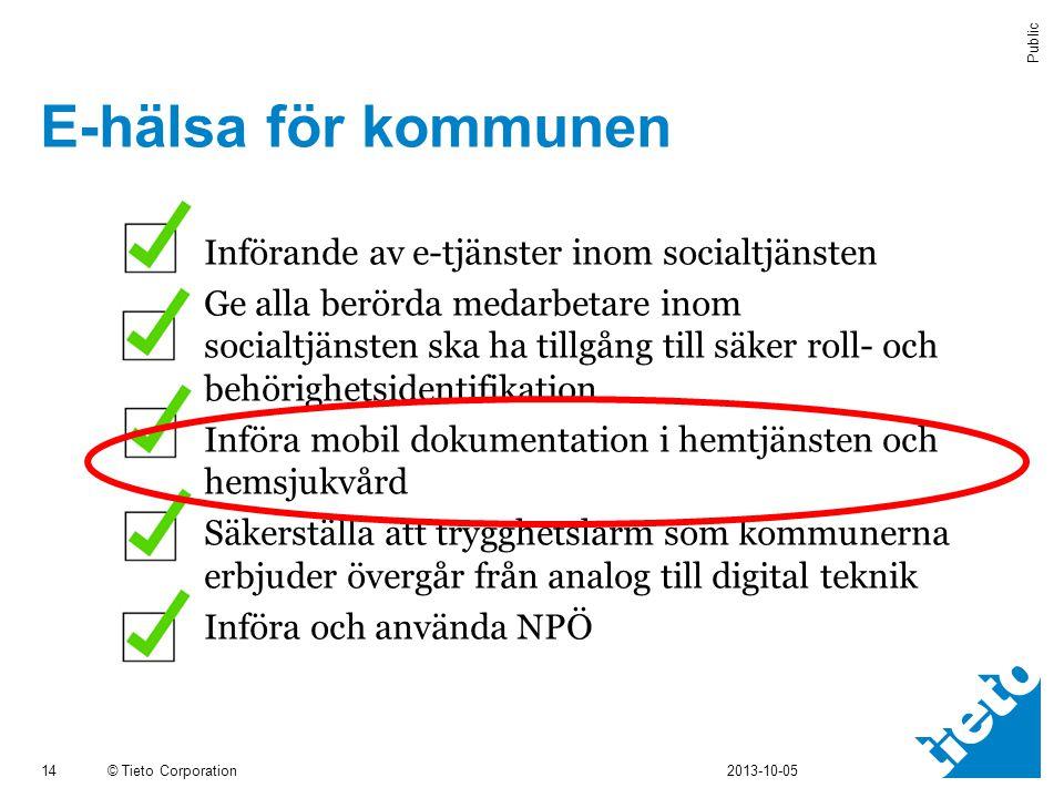 © Tieto Corporation Public E-hälsa för kommunen 14 2013-10-05  Införande av e-tjänster inom socialtjänsten  Ge alla berörda medarbetare inom socialt