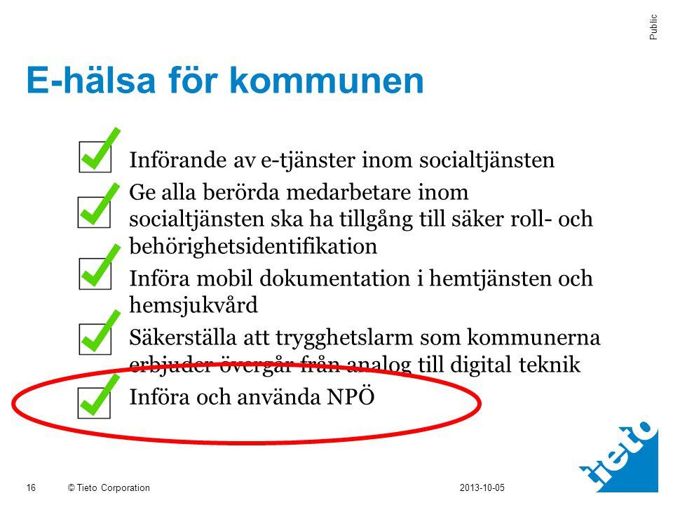 © Tieto Corporation Public E-hälsa för kommunen 16 2013-10-05  Införande av e-tjänster inom socialtjänsten  Ge alla berörda medarbetare inom socialt
