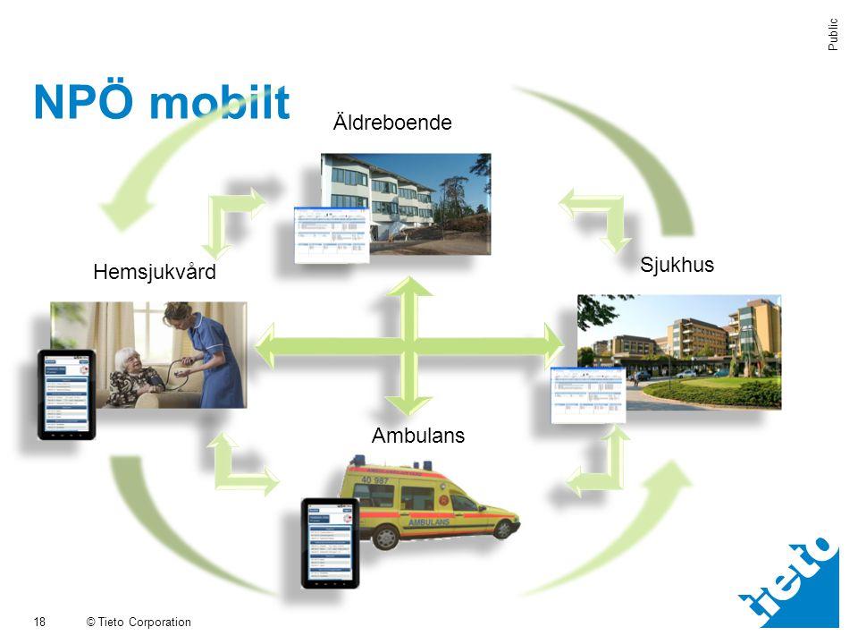 © Tieto Corporation Public NPÖ mobilt 18 Äldreboende Hemsjukvård Ambulans Sjukhus