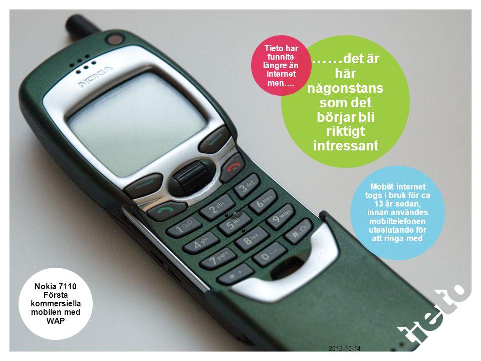 © Tieto Corporation Public Nokia 7110 Första kommersiella mobilen med WAP Mobilt internet togs i bruk för ca 13 år sedan, innan användes mobiltelefonen uteslutande för att ringa med …… det är här någonstans som det börjar bli riktigt intressant Tieto har funnits längre än internet men….