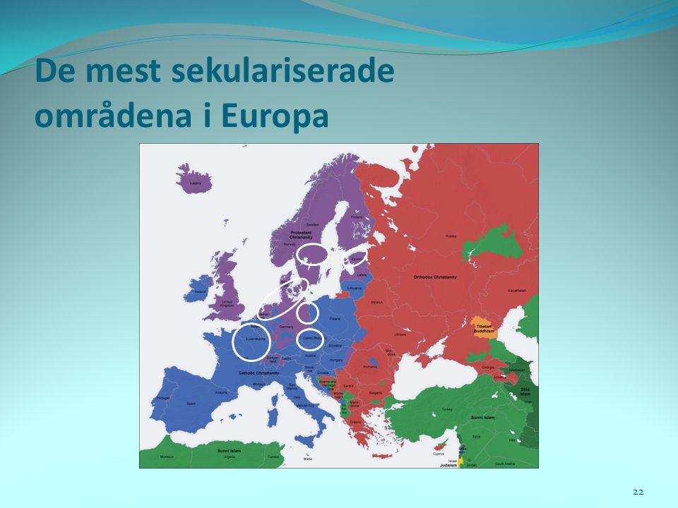 De mest sekulariserade områdena i Europa 22