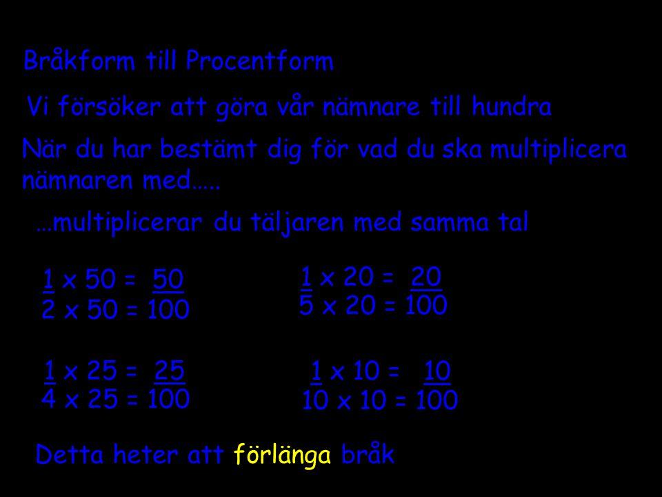 Vi försöker att göra vår nämnare till hundra 2 x 50 = 100 4 x 25 = 100 5 x 20 = 100 10 x 10 = 100 Bråkform till Procentform 1 x 20 = 20 1 x 50 = 50 1